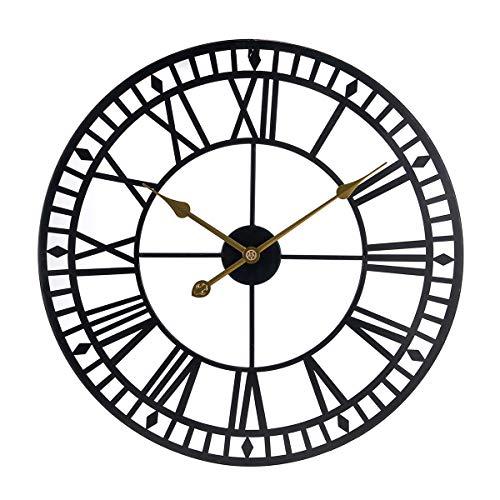 Mengshen Reloj De Pared para Decoración del Hogar De 60 cm, Reloj Silencioso Que No Hace Tictac con Números Romanos Grandes para El Dormitorio De La Entrada De La Sala De Estar (Negro)