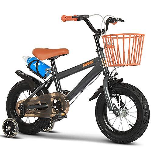 Bicicleta para Niños De 12 A 18 Pulgadas con Ruedas De Entrenamiento, Frenos De Mano Y Canasta para Niños, Bicicleta De Equilibrio para Correr, Estabilizadores Extraíbles para Niños De 2 A 12 Años