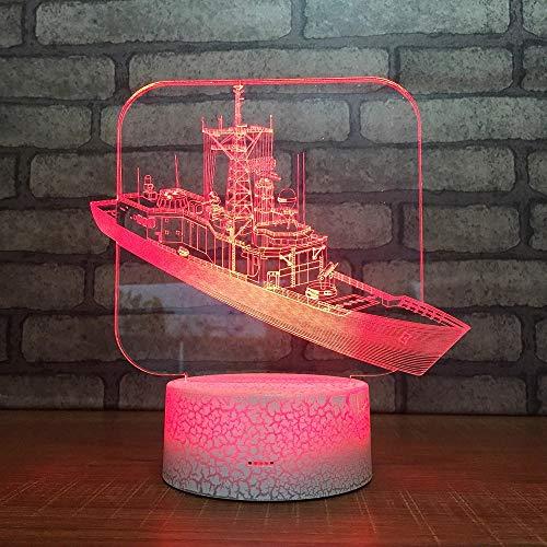 3D Cracked Base Creative Boat lamp Multi-Color Table lamp Children Bedroom