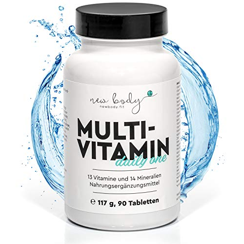 new body® Vitamintabletten - 90 hochdosierte Kapseln - 13 Vitamine (A, B12, C, D, D3, K2, etc.) und 14 Mineralstoffe mit EINER Kapsel - Geeignet für Frauen & Männer - Made in DE