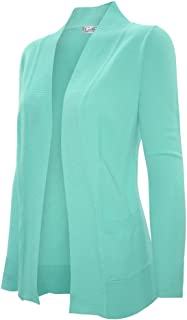 Women's Solid Basic Open Front Pockets Knit Sweater Cardigan