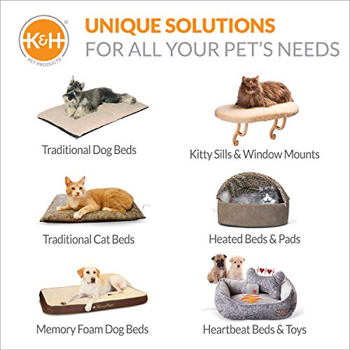 """K&H Pet Products Deluxe Lectro-Soft Outdoor Heated Bed Medium Chocolate/Tan 26.5"""" x 30.5"""" 40W"""