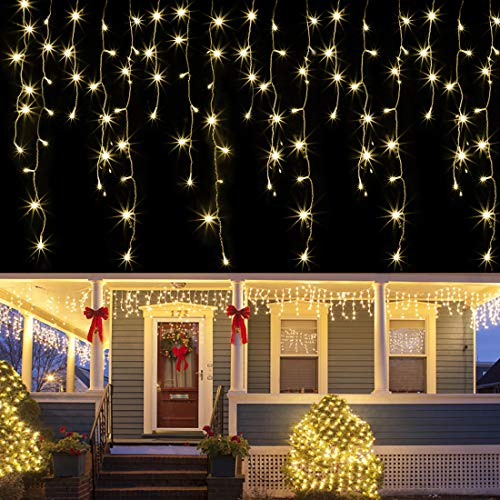 Joliyoou Dripping Icicle Lights, 360 LEDs 29.5ft Icicle Christmas Lights, 8 Modes Curtain Fairy Lights with 60 Drops, Outdoor Indoor Xmas Holiday Wedding Party Decorations (Warm White)