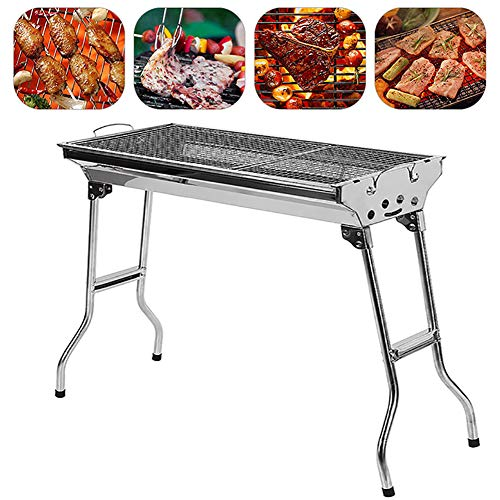 LXVY Große BBQ Grill 430 Edelstahl Folding Tragbare Charcoal Outdoor-Camping-Picknick-Grill-Ofen Grill Werkzeuge