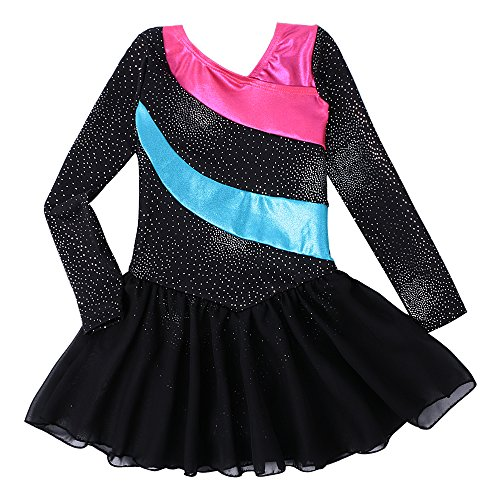 Kidsparadisy Girls Long Sleeve Dance Leotard with Skirt Dress Tulle Rainbow Stripe Gymnastic Costumes for 2-11Y Girls (Blacklong, 130(6-7T))