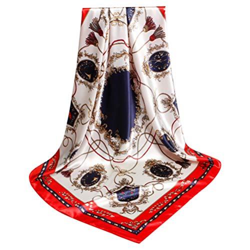 Lenço feminino de cetim de seda KesYOO lenço de cabeça com decote quadrado e cachecol para dormir ao ar livre 90 cm azul, Borda vermelha, 90x90cm