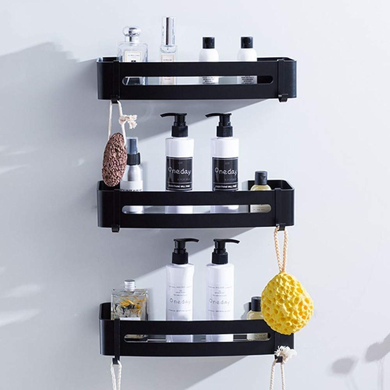 CBXSF Nordic Black Bathroom Shelf Corner Shelf Tripod Bathroom Storage Rack Wall-Mounted Bathroom Rack with Hooks Free Drilling, Three Layer