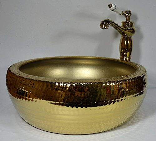 Lujo baño lavabo de cerámica contador Top lavabo dorado de lavado cuenco