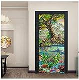 Forest Tiger Dolphin PVC etiqueta de la puerta desmontable dormitorio decoración de la puerta cartel