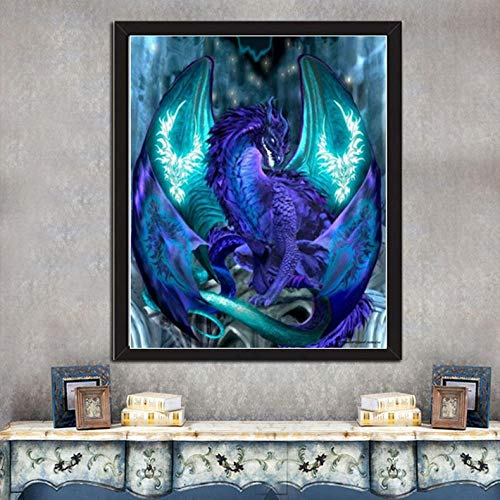 DIY 5D Diamond Painting Kits Full Drill Arts Craft Canvas Supply for Home Wall Decor Adults and Kids Square Diamond Magic Dragon 16inx32in
