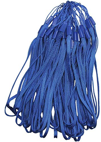 FINENIC (50PCS Pack) Nylon Lanyard, Lanyard with ID Holder, 7 Inch Nylon Hand Wrist Strap Lanyard for USB Flash Drives, Keys, Keychains, ID Name Tag Badge Holders and Other Portable Items, Blue