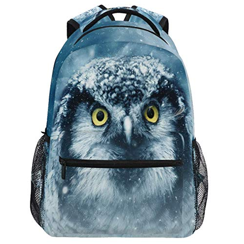 Mouthdodo Winter Animal Owl Snow Backpack Bookbag Daypack Travel Hiking Camping School Laptop Bag