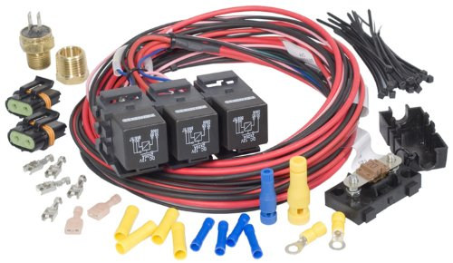 Painless Performance 30116 Dual Activation, Dual Electric Fan Relay Kit with Thermostatic Switch (On 195/Off 185)