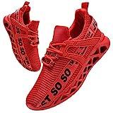 BUBUDENG Hombre Deportivas Zapatillas Running Hombre Tenis Zapatillas de Tenis para Hombre con Cordones Casuales y Ligeras Rojo EU46