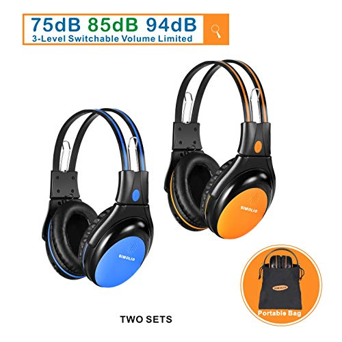SIMOLIO 2 Pack of Car Headphones with Switchable 75dB,85Db,94dB Volume Limited, Infrared Wireless Headphones Dual Channel for Kids Car Trip, Automotive IR Wireless Headphones for in Car Listening