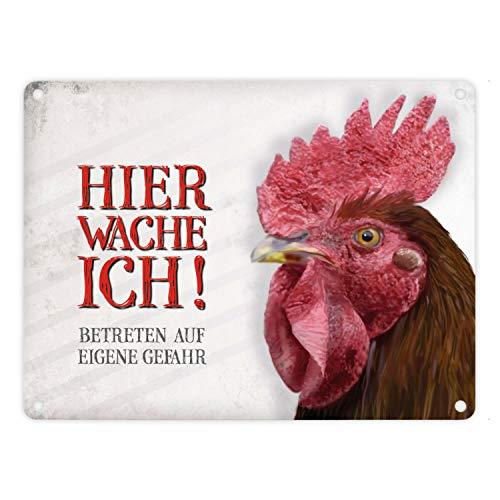 Metallschild mit Hahn Motiv und Spruch: Betreten auf eigene Gefahr - Hier wache ich!