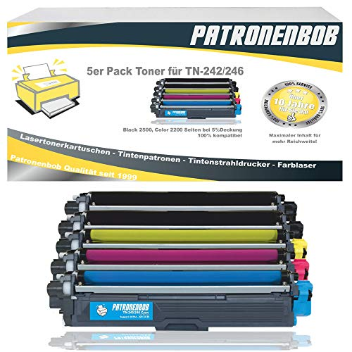 5erPackPatronenbobXL Toner kompatibel zu Brother TN-242 TN-246 für Brother HL-3142 CW HL-3152 HL-3172 DCP-9017CDW DCP-9022 MFC-9142 MFC-9332 MFC-9342