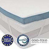 Dreamzie - Topper Memory Foam Singolo Matrimoniale 160 x 200 cm - 5 cm di Schiuma ad Alta Densità 45 kg / m3 - Rivestimento Ipoallergenico in Bamboo - Made in Europa - Certificato OEKO-TEX e CertiPUR