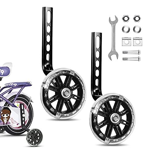 JEEZAO Stützräder Kinderfahrrad,Universal Hilfsräder, Fahrradstabilisatoren Stützräder für 12 14 16 18 20 Zoll (Flash schwarz)