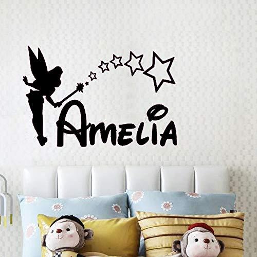Modeganqingg Etiqueta de la Pared Nombre de la niña Dormitorio Princesa Patrón de Dibujos Animados Nombre Arte Etiqueta de Vinilo Decoración de la habitación de los niños Negro 65cm x 100cm