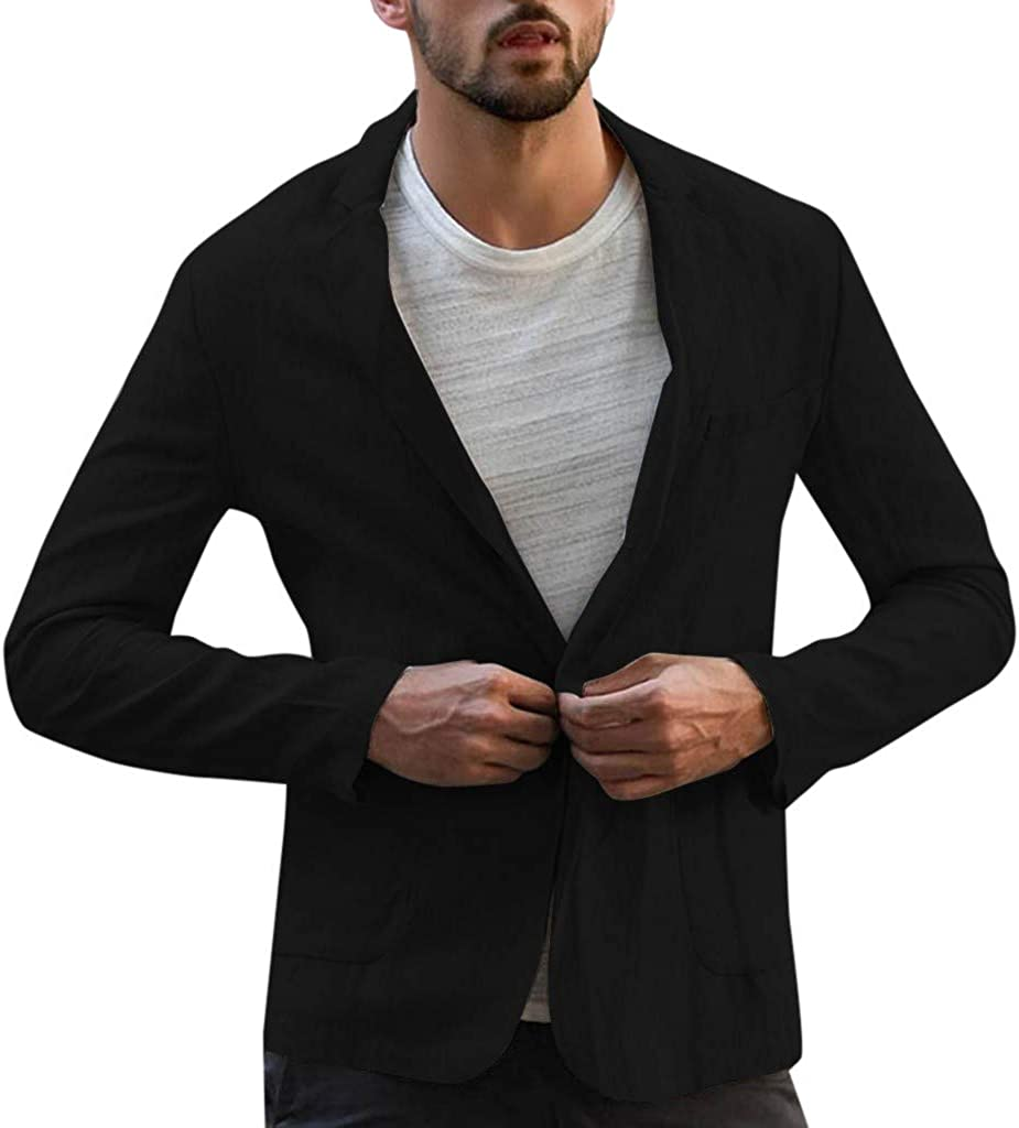 Huangse Men's Cotton Linen Blazer Lightweight Casual Solid Button Jacket Essential Loose Fit Autumn Sport Coat with Pockets