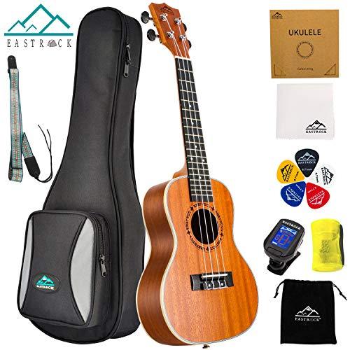 EastRock Sopran Ukulele Anfänger 23 Zoll Massivholz Ukulele Kleine hawaiianische Gitarren Ukulelen für Kinder Anfänger Erwachsene mit Tasche (23 Zoll, Sapele)