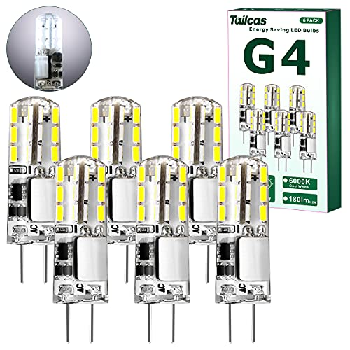 Bombilla LED G4 1.5W AC/DC 12V, Blanco Frio 6000K, Capsule LED Equivalente a 20W Bombillas Halógenas, 180LM No Regulable, Ángulo de haz de 360°, Paquete de 6 🔥