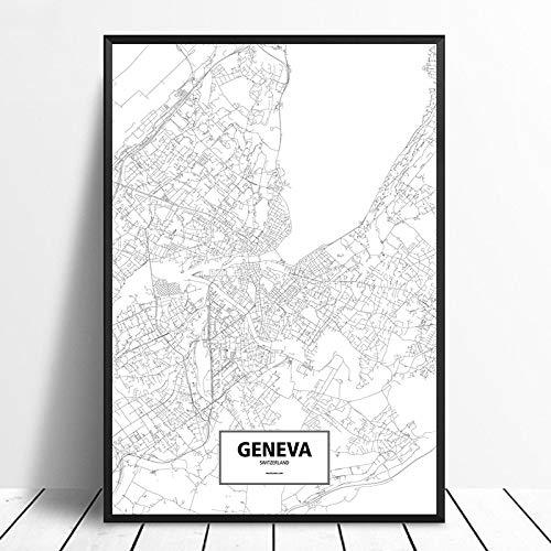 Cuadro sobre Lienzo,Minimalista En Blanco Y Negro Ginebra Suiza Personalizado Mundo Mapa De La Ciudad Póster Lienzo Impresión En HD Estilo Nórdico Arte De Pared Decoración del