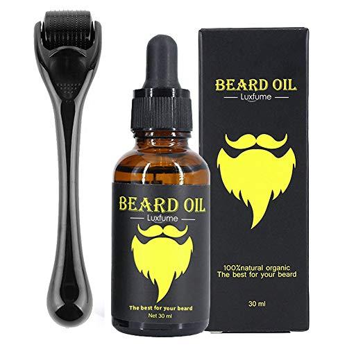 Bart-Wachstumsset, Bart-Dermaroller, 0,3 mm Derma-Roller/Bart-Öl für das Gesichtshaarwachstum, für Männer und Väter, Pflege-Werkzeug, einen Bart zu wachsen–erleichtert neues und altes Haarwachstum