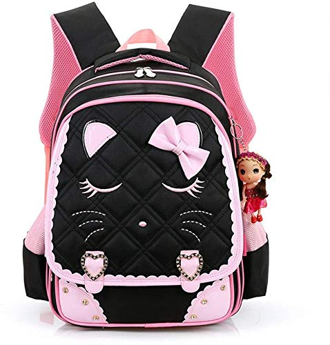 Girls Backpack, Cute Cat Face Bowknot Waterproof Primary School Backpack For Girls Princess Style Elementary Bookbag, Nursery Or Preschool Bag Or Toddlers Travel Bag ( Color : Black , Size : L )