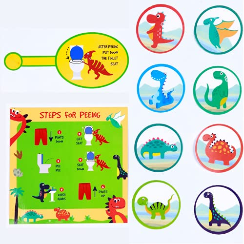 ATHENA FUTURES Dinosaur Potty Training Toilet Targets - 2' Water Soluble, Flushable Urinal Paper Cards for Toddlers, Boys - Kids Trainer Kit with Lift Lid Sticker and Peeing Chart - 80 Targets