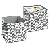 mDesign Organizador de tela – 2 Cajas para organizar juguetes– Ideal caja de tela para organizar juguetes, ropa o mantas y mantener la organización de su hogar – Color: gris/crema