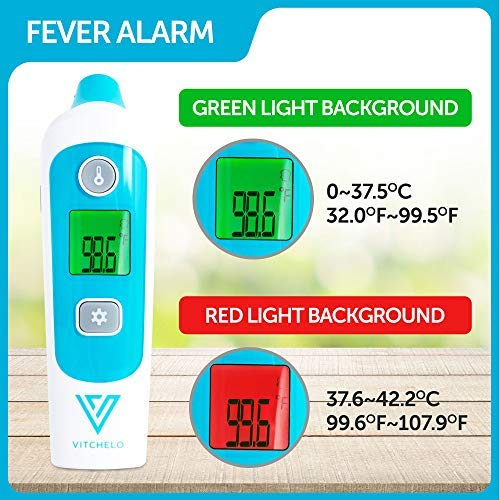 Digital Forehead and Ear Thermometer for Babies, Infants, Kids & Adults - FDA Approved Medical Grade Infrared Thermometer with Fever Alarm, Instant Accurate Reading and Memory Function