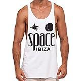 Space Ibiza: Nativo Camiseta sin Mangas con Espalda Nadador - Blanco, XL - Extra Large