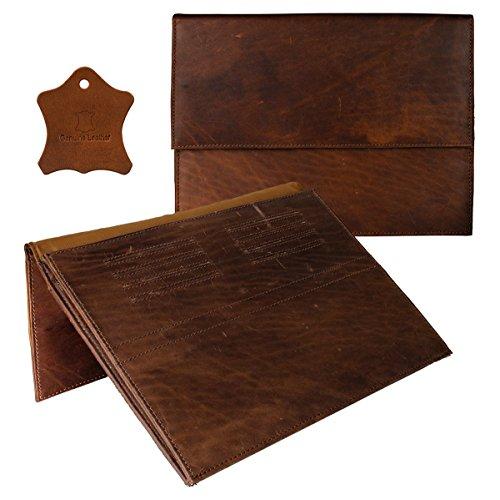 eFabrik Hülle für LG G Pad 2 Tasche (10,1 Zoll) Schutztasche Cover Sleeve Büffel Echt Leder Cognac Braun