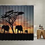African Elephant Shower Curtain Safari Autumn Sunset Forest Trees Scenery Tropical Savanna Wild Animals Silhouettes, Polyester Fabric with Hook (Brown, 70'' X 70'' Inch)