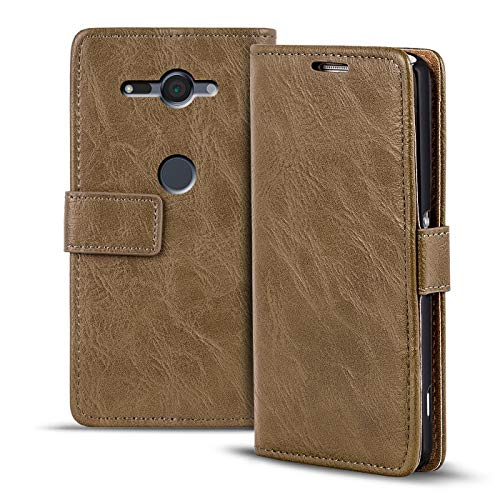 Verco Xperia XZ2 Compact Hülle, Premium Handy Schutzhülle für Sony Xperia XZ2 Compact Hülle PU Leder Wallet Tasche Retro Flipcase, Mocca