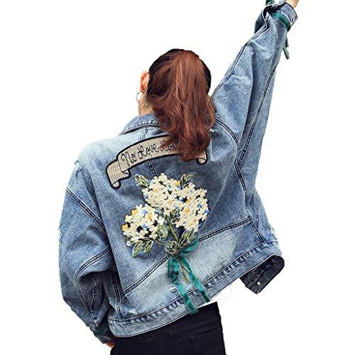 Lulupi Damen Jeansjacke Blumenmuster Jacke Denim Zerrissene Jeans Jacket Casual Mädchen Übergangsjacke Bomberjacke Bikerjacke