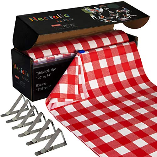 Neatalia 120 ft Red Checkered Premium Disposable Plastic Tablecloth Roll, Including 6 Metal Table Cover Clips   120 feet by 54 inch Covers Any Size or Shape