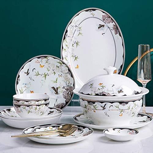 Juego de vajilla de alta gama, juego de vajilla de cerámica, juego de vajilla de porcelana creativa de 46 piezas para reuniones familiares / juegos de platos y cuencos de porcelana china con patrón de