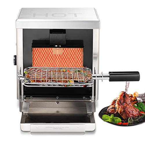 Kismile 8000 BTU Liquid Propane Gas Grill, Stainless Stell Portable Infrared Steak Grill, BBQ Steak Gas Grill for Outdoor Use Grills Propane
