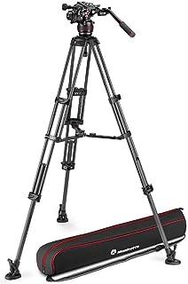 Manfrotto MVK608TWINMC Nitrotech 608 Fluid Videokopf für Videoaufnahmen mit Doppelrohr Stativ aus Carbon mit Mittelspinne für DSLRs, Spiegellose, Video  und Cinema Kamerasysteme, 8 kg Traglast