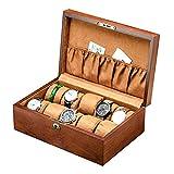 Caja de reloj exquisita caja de almacenamiento de la exhibición del reloj de madera recogida de la cosecha reloj de pulsera collar de madera maciza de almacenamiento Caja Tiendas para el reloj princip