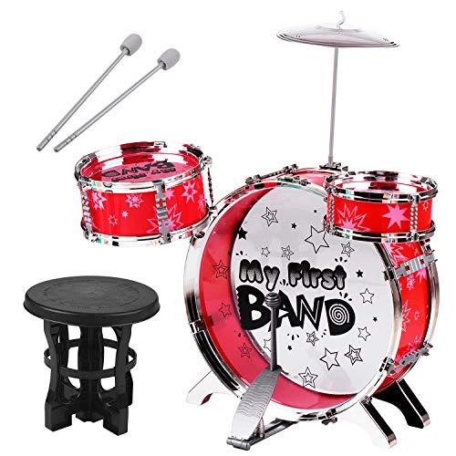 sazoley-Batería, Niños Niños Principiantes Set de batería de jazz Batería de 3 piezas con batería de platillos Taburete ajustable Batidor individual Percusión Instrumento...