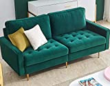 """Danxee Velvet Fabric Sofa Couch 71"""" Wide Mid Century Modern Tufted Fabric Sofa Living Room Sofa 700lb Heavy Duty with 2 Pillows (Emerald)"""