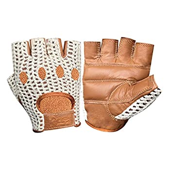 Fingerless Crochet Leather Gloves Gym Training Bus Driving Cycling Wheelchair 416  416-Tan L
