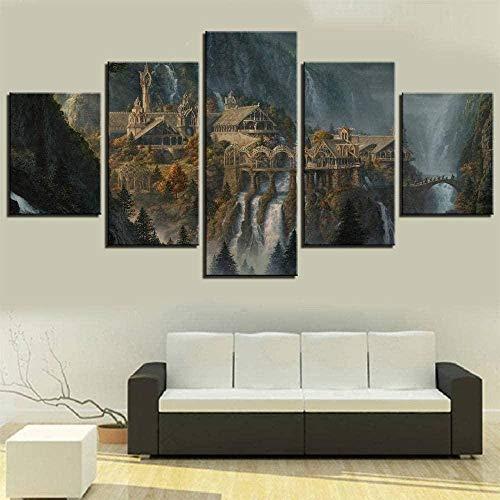 5 Piezas Lona Murales Cuadro Moderno Lienzo Escena De Película, Anillos, Castilloarte Pared Alta Definición Decorativa Home Dormitorio Óleo Lona Pintura Regalos(Enmarcado)