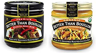 Better than Bouillon Premium Roasted Beef Base, Organic Roasted Chicken Base 8 ounce Jars (Pack of 2)