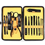 Aofmee Manicure Pedicure Set Nail Clippers, 15pcs Stainless Steel Mani Pedi Kit for Professional Remove Calluses & Cuticles, Facial Foot Hand Cleaning Care Grooming Tools Gift for Women / Men