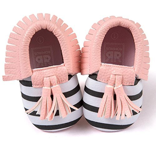 Voberry Infant Toddlers Baby Boys Girls Soft Soled Tassel Crib Shoes PU Moccasins (12~18 Month, Pink Stripe) (Names Starting With M For Baby Girl)